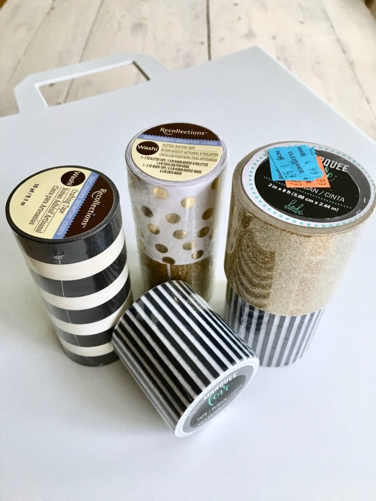 REbin-earth_day_recycling_bin_cool-stylish_washi_tape_DIY-black_white_decorate_michaels_gold_glitter_stripes