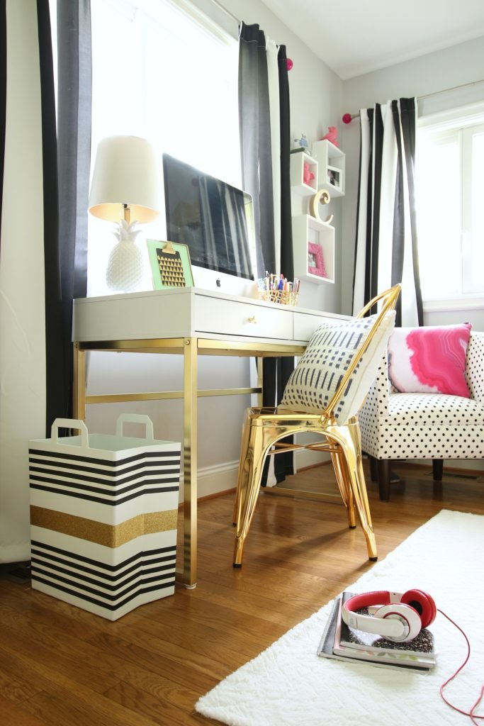 REbin-earth_day_recycling_bin_cool-stylish_washi_tape_DIY-black_white_decorate_michaels_gold_glitter_stripes_shopping_chair_tote