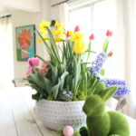 gerbera_daisies_container_garden_spring_easter_planter_flowers_white_moss_rabbits_meme_hill_colorful_art