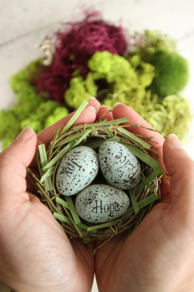 gerbera_daisies_container_garden_spring_easter_planter_flowers_white_moss_rabbits_robins_egg_nest