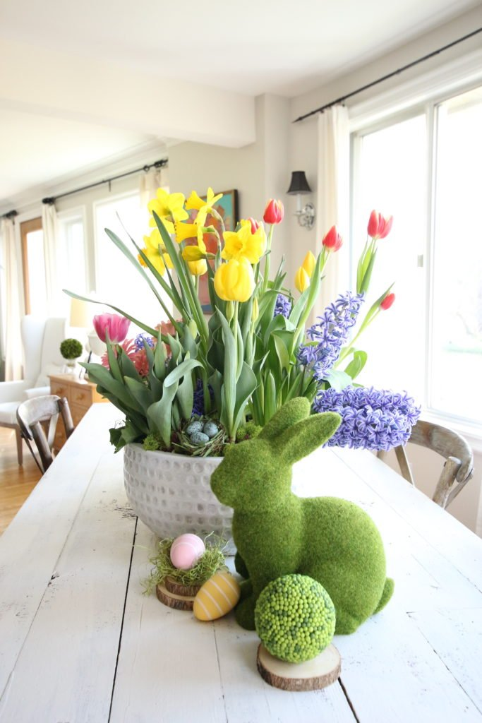 gerbera_daisies_container_garden_spring_easter_planter_flowers_white_moss_rabbits_white_farmtable