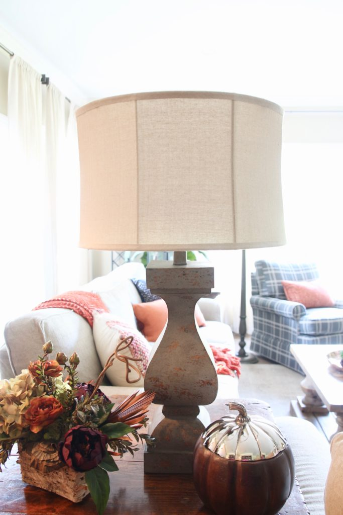 Fall_Blogger_home_tour_living_room_neutral_decor_autumn_colors_meme_hill_Amie_freling_HomeGoods_plaid_chair_Wisteria_flowers_arrangement