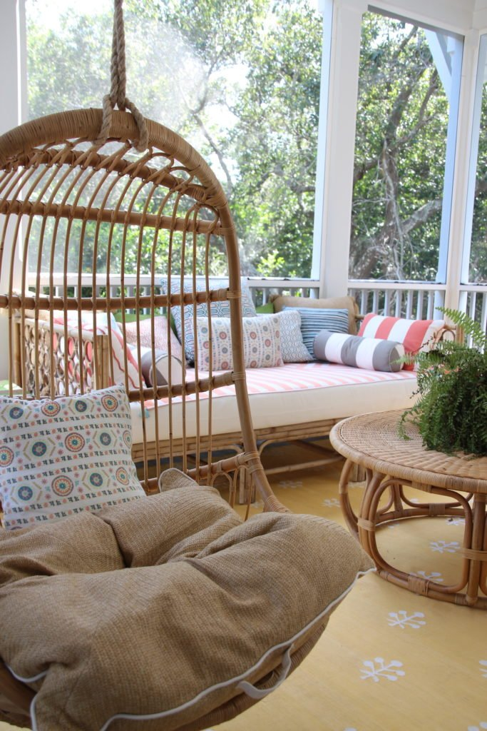 Southern _living_Idea_House_2017_Delta_faucet_bald_head_island_Meme_hill_screened_porch_patio_wicker_rattan_hanging_chair