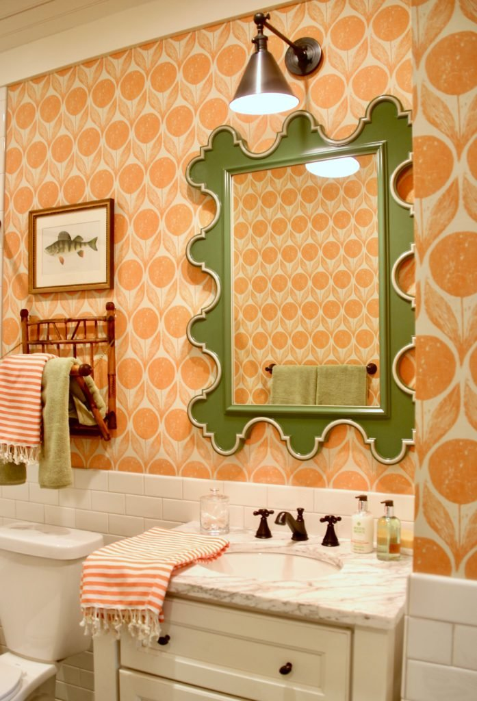 Southern _living_Idea_House_2017_Delta_faucet_bald_head_island_Meme_hill_whimsical_wallpaper_coastal_orange_bathroom