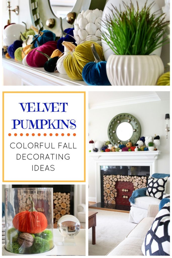velvet pumpkins fill this living room for a fall decorating idea