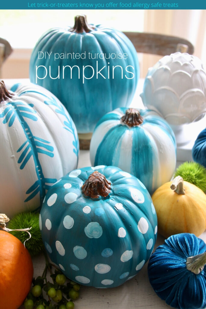 Diy painted teal and turquoise pumpkins