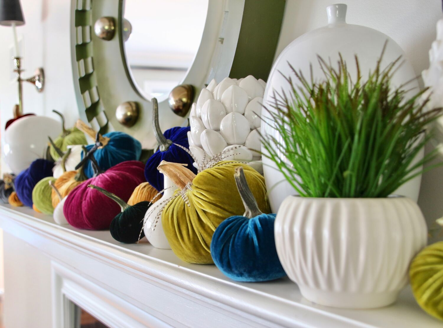velvet_Pumpkins_meme_hill_mantel_decorating_fall_decorating_lizzandpip_feathers_colorful_handmade_turquoise_teal
