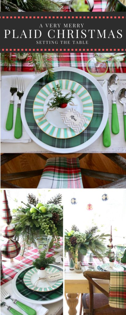 setting_Christmas_dinner_table_plaid_farmhouse_dinnerware_flowers