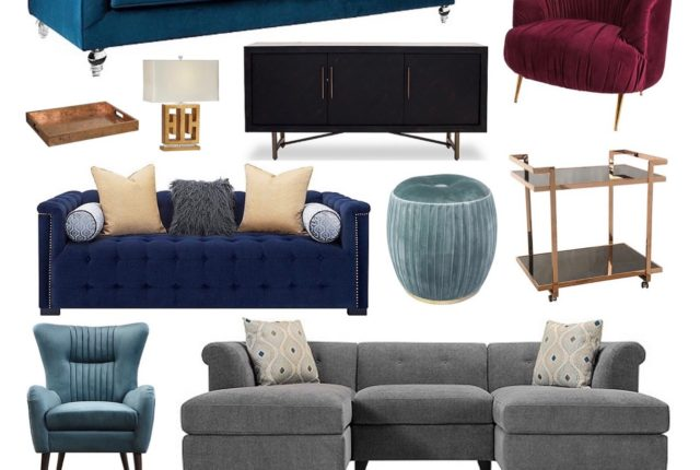 RF Jan Get cozy mood board_raymour_flanigan_velvet_barcart_sofa_gold_chic_glam_furniture