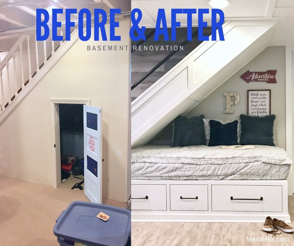 before and after images of a farmhouse basement staircase and what to do underneath. a kid hideaway bed under the stairs