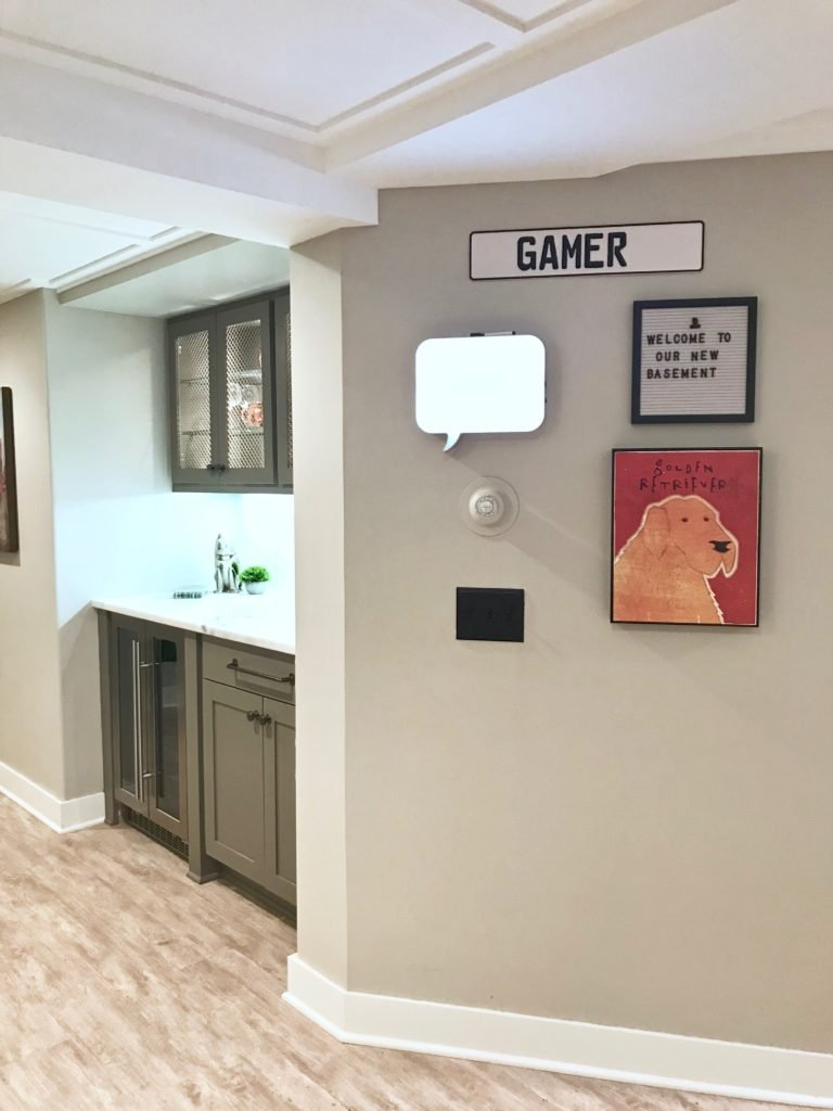 Meme_HIll_studio_Basement_remodel_renovation_kids gallery wall with dry erase board and memo board