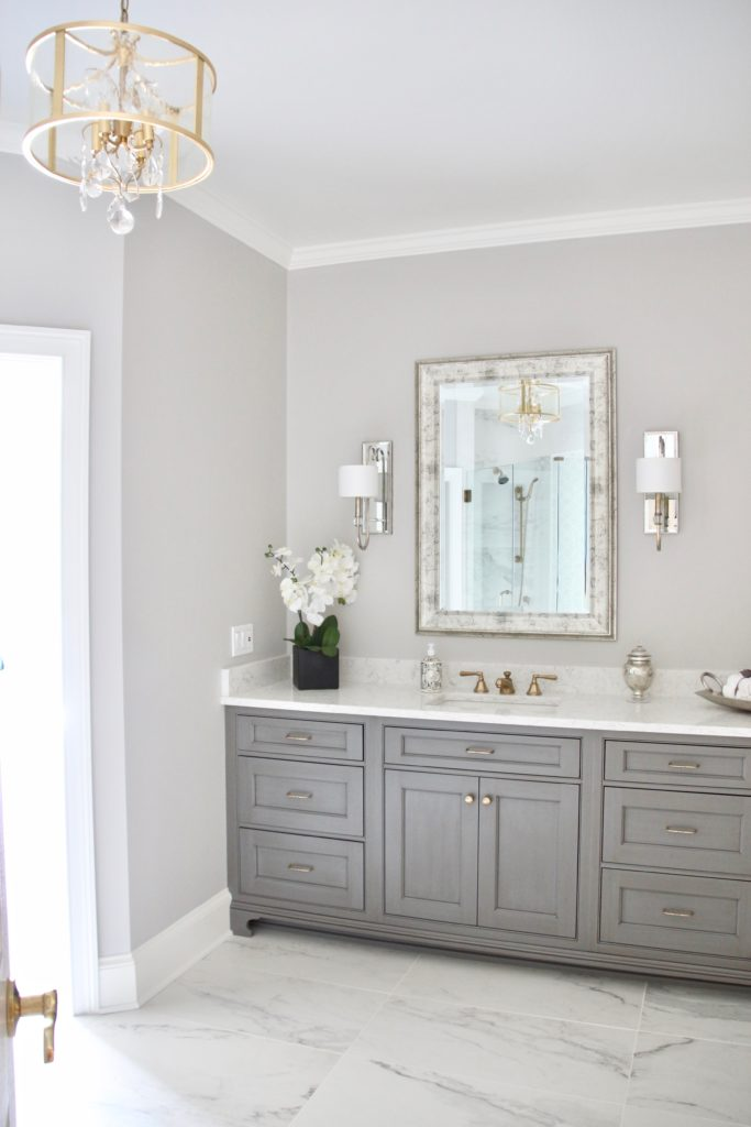 gray painted bathroom vanity with white quartz countertops, luxurious bathroom, gorgeous mirrors