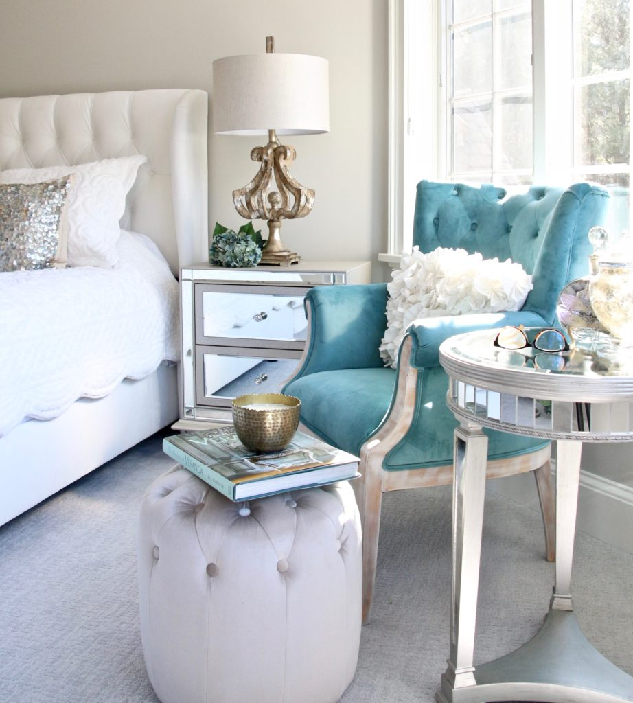 Meme_HIll_studio_amie_Freling_Raymour_flanigan_White_glam_bedroom_gorgeous_Thayer_upolstered_bed_accent_pillows_Dialia_mirrored_nightstand_tierney_round_Shepard_lamp