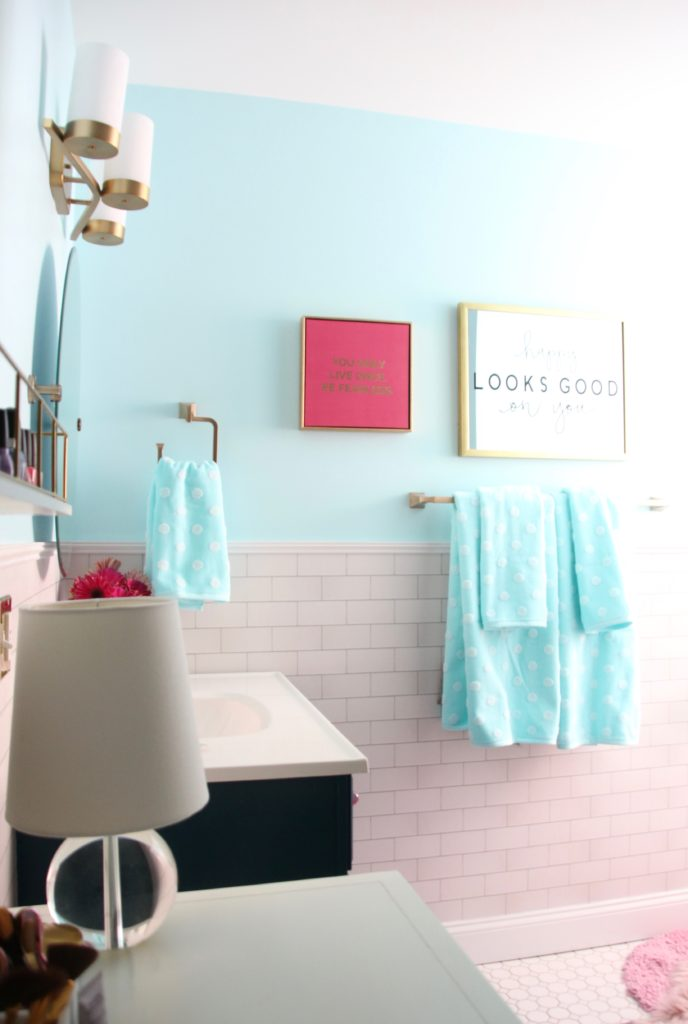 Meme Hill Bathroom Teen Makeover Pink Turquoise Subway