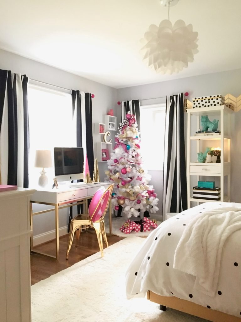 Meme_hill_studio_amie_freling_teen_room_ideas_black_white_chic_desk_Raymour_flanigan_gold_chair_striped_curtains_white_christmas_tree_pink_gray_Rug_Homegoods_girl