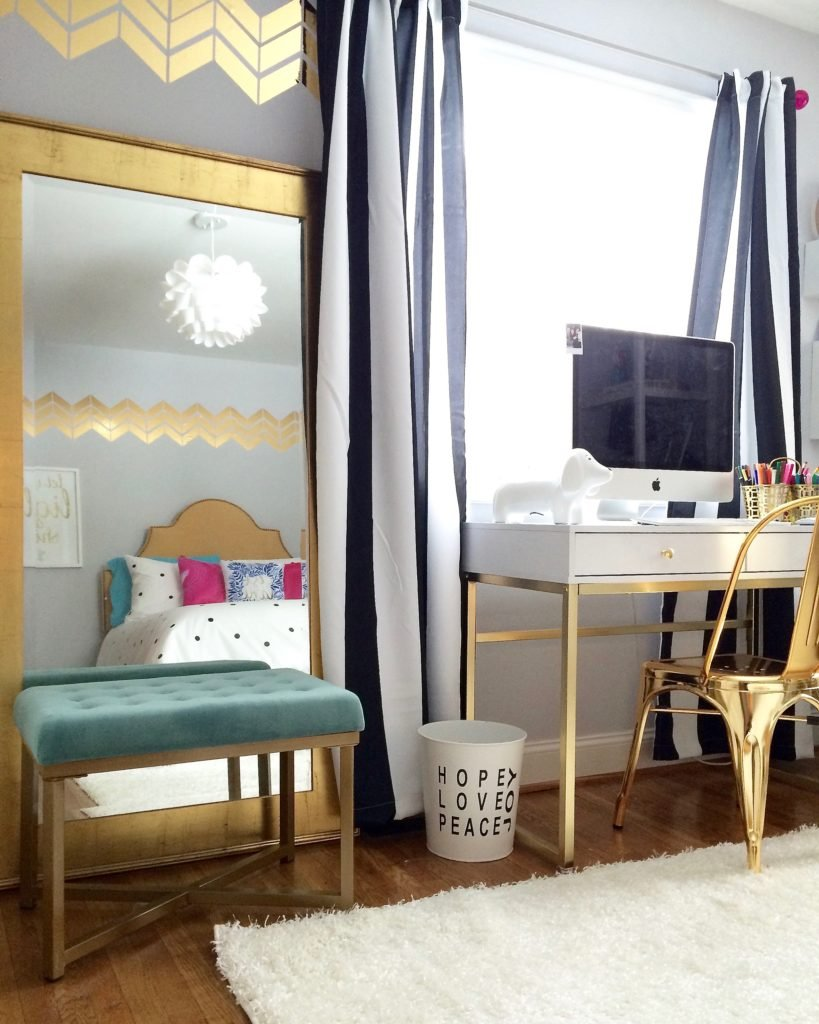 Meme_hill_studio_amie_freling_teen_room_ideas_black_white_chic_desk_Raymour_flanigan_gold_chair_striped_curtains_white_christmas_tree_pink_gray_chevron_target_pottery_barn_mirror_chandelier