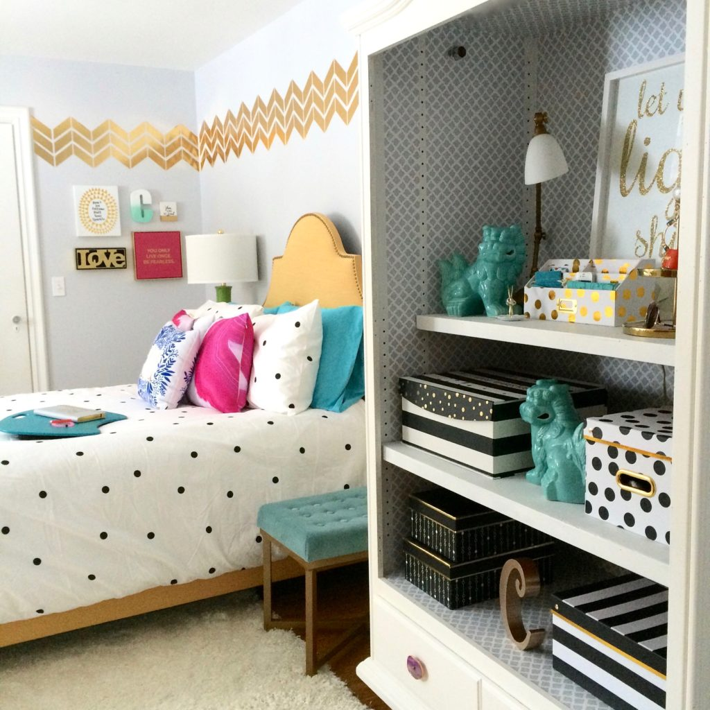 Meme_hill_studio_amie_freling_teen_room_ideas_black_white_chic_desk_Raymour_flanigan_gold_chair_striped_curtains_white_christmas_tree_pink_gray_painted_furniture