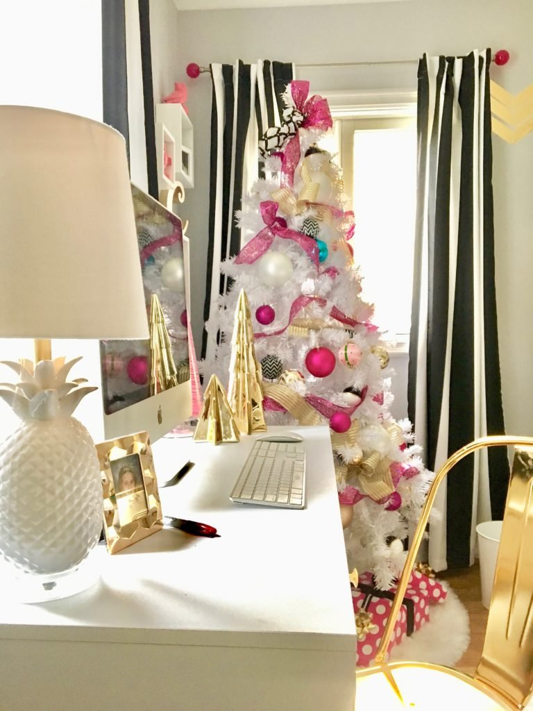 Meme_hill_studio_amie_freling_teen_room_ideas_black_white_chic_desk_Raymour_flanigan_gold_chair_striped_curtains_white_christmas_tree_pink_gray_walmart_HomeGoods