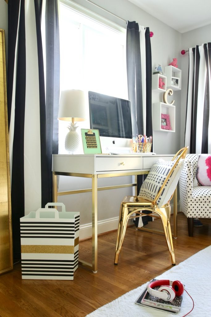 Meme_hill_studio_amie_freling_teen_room_ideas_black_white_chic_desk_Raymour_flanigan_gold_chair_striped_curtains_white_stripes_furniture_pink_gray