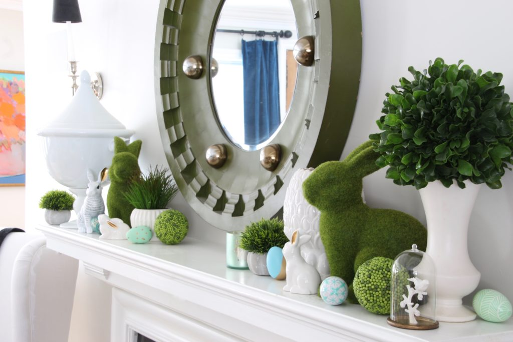 Meme_HIll_Studio_Amie_freling_easter_decorating_livingroom_colorful_ideas_pillows_homeGoods_art_flowers_moss_rabbits_Fireplace_mantel_eggs