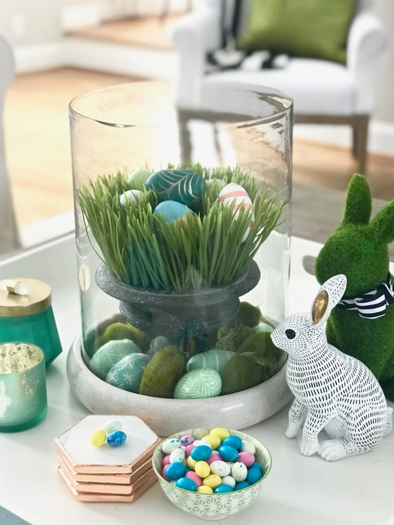 Meme_HIll_Studio_Amie_freling_easter_decorating_livingroom_colorful_ideas_pillows_homeGoods_art_flowers_sofa_white_eggs_vingette_bunnies