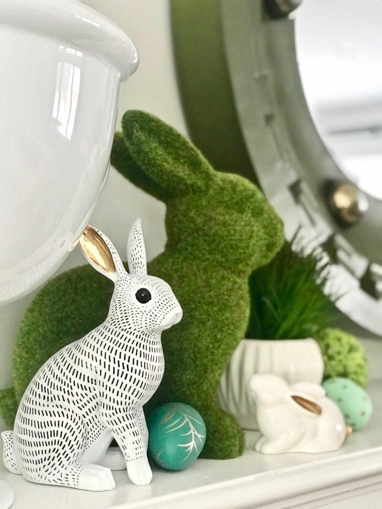 Meme_HIll_Studio_Amie_freling_easter_decorating_livingroom_colorful_ideas_pillows_homeGoods_art_flowers_sofa_white_rabbit_fireplace_mantel