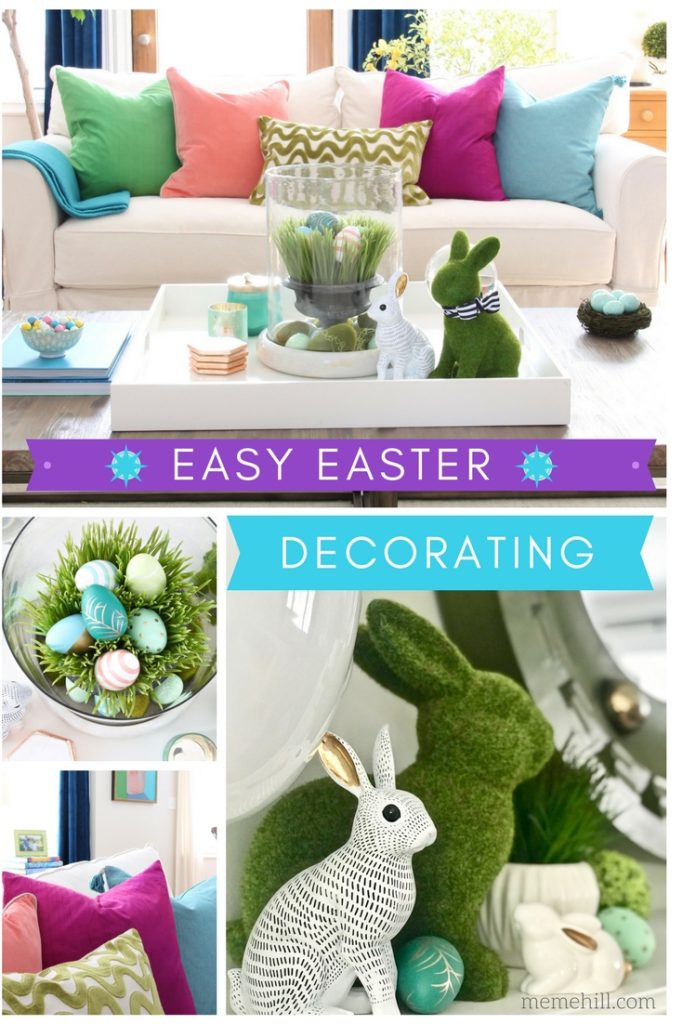Meme_HIll_Studio_Amie_freling_easter_decorating_livingroom_colorful_ideas_pillows_homeGoods_art_flowers_sofa_white_slipcovered_velvet_curtains_rabbit_easy