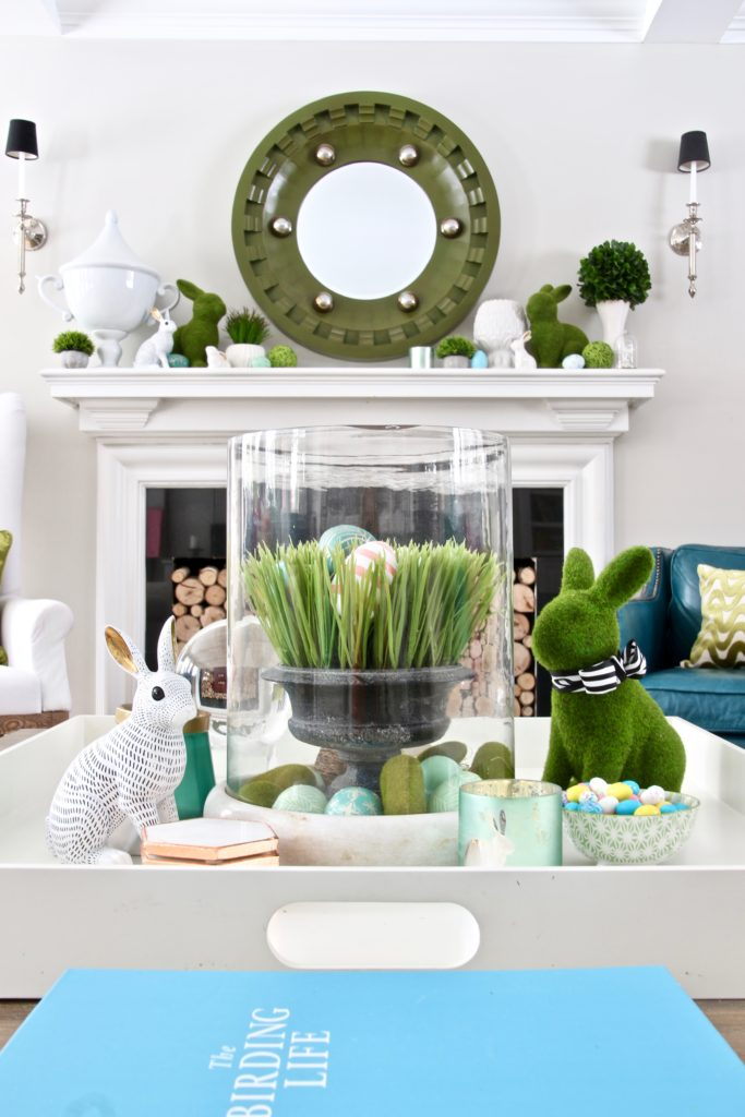 Meme_HIll_Studio_Amie_freling_easter_decorating_livingroom_colorful_ideas_pillows_homeGoods_coffee_table_styling_spring_rabbit_bunny