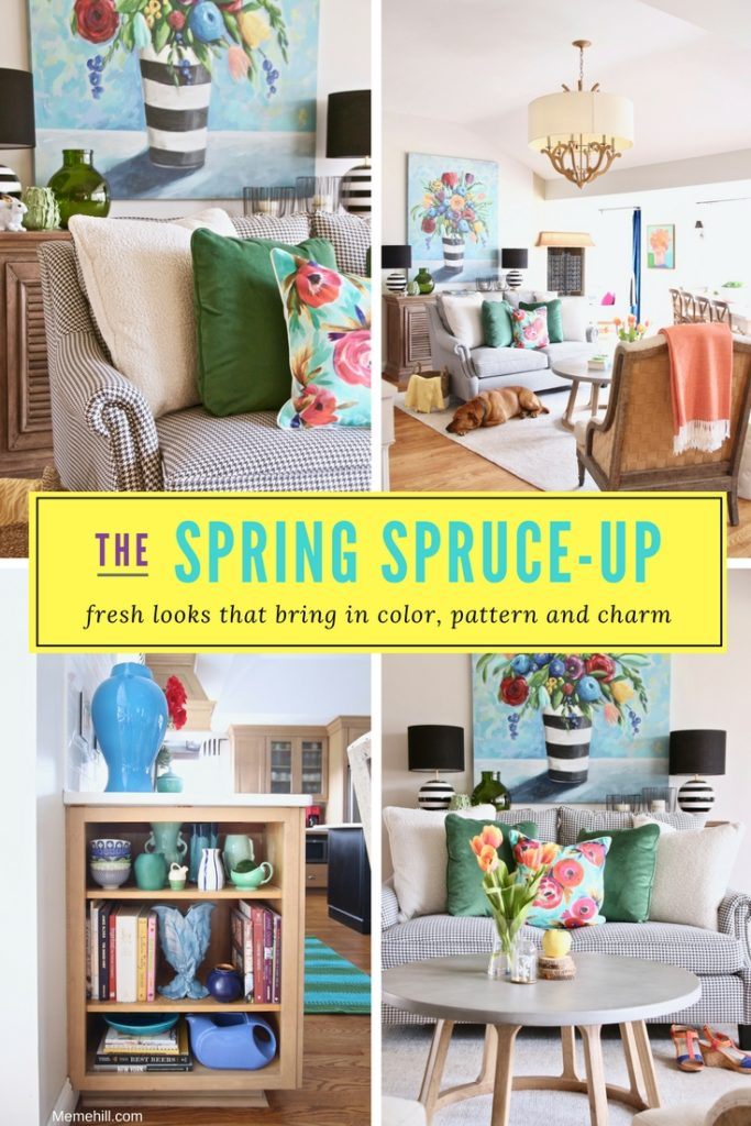 Colorful_jumpstart_Spring_kitchen_Meme_Hill_Studio_Amie_Freling_Raymour_flanigan_black_Houndstooth_Flowers_painting_White_kitchen_gathering_room_fresh_look