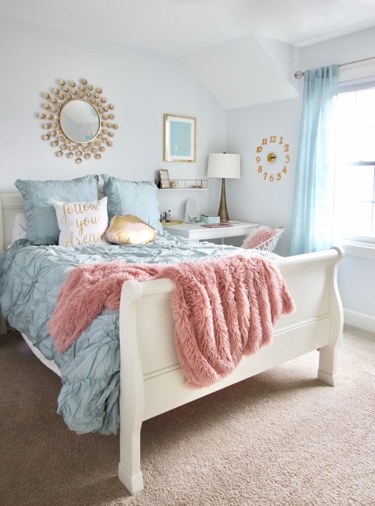 Designing_Teen_room_to_Last_white_furniture_makeover_bedroom_MemeHIll_studio_amie_freling_decorating_ideas_lighting_turquoise_pink_gold_gray_chic_bedding