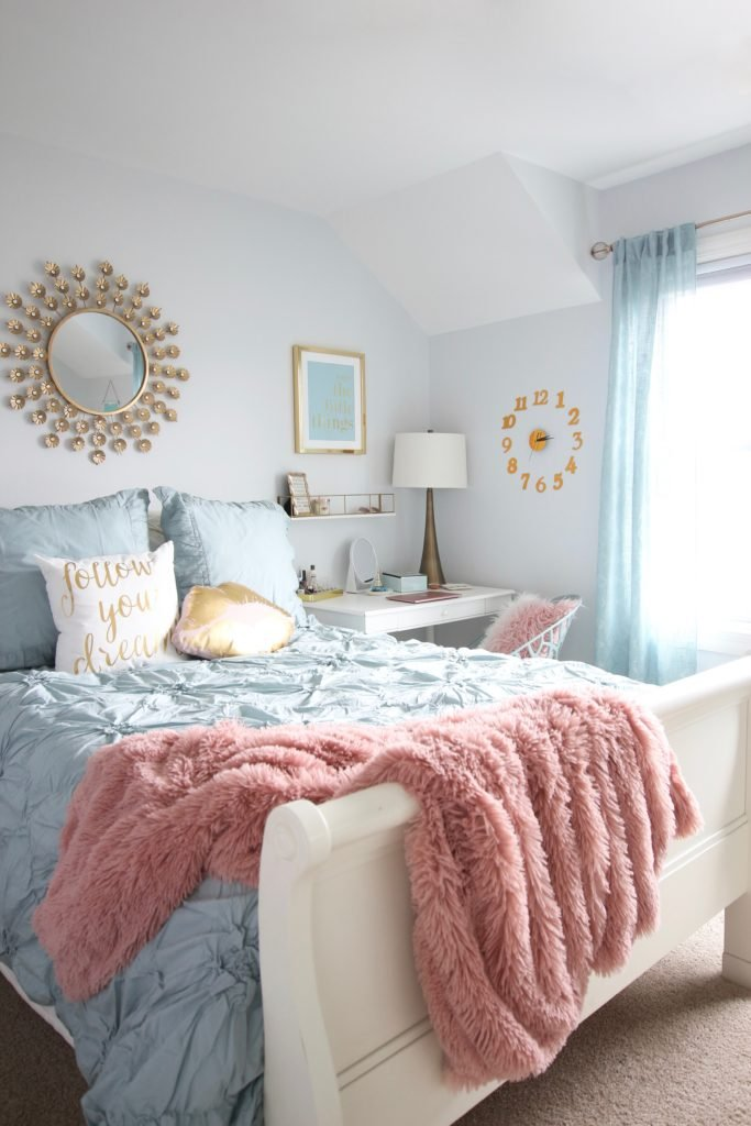 Designing_Teen_room_to_Last_white_furniture_makeover_bedroom_MemeHIll_studio_amie_freling_decorating_ideas_lighting_turquoise_pink_gold_gray_chic_clock