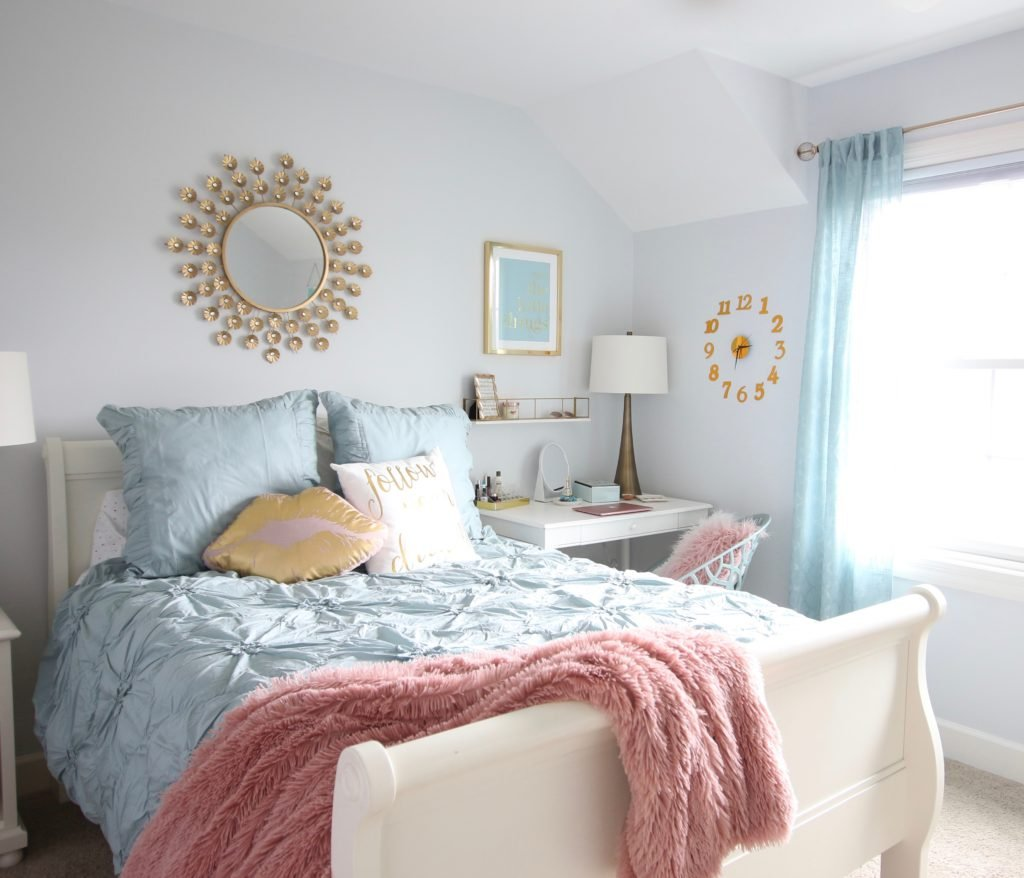 Designing_Teen_room_to_Last_white_furniture_makeover_bedroom_MemeHIll_studio_amie_freling_decorating_ideas_lighting_turquoise_pink_gold_gray_chic_decor