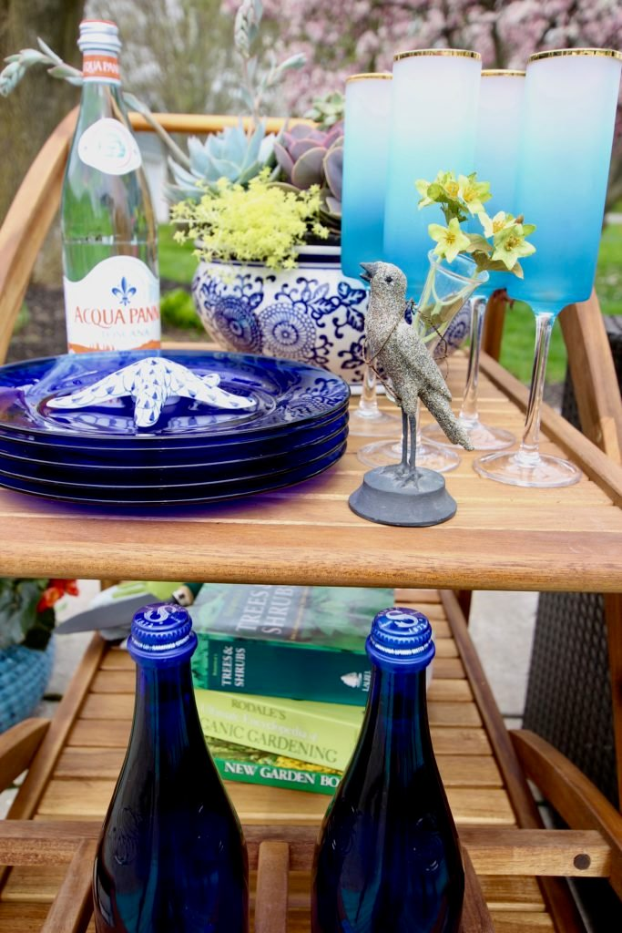 Amie_freling_meme_hill_studio_raymour_flanigan_bar_cart_outdoor_mothers_day_ideas_rochester_ny_blue_dinnerware_glasses_Mackenzie_childs