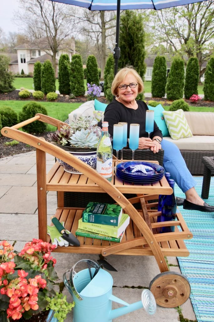 outdoor teak bar cart from Raymour and Flanigan, mothers day ideas
