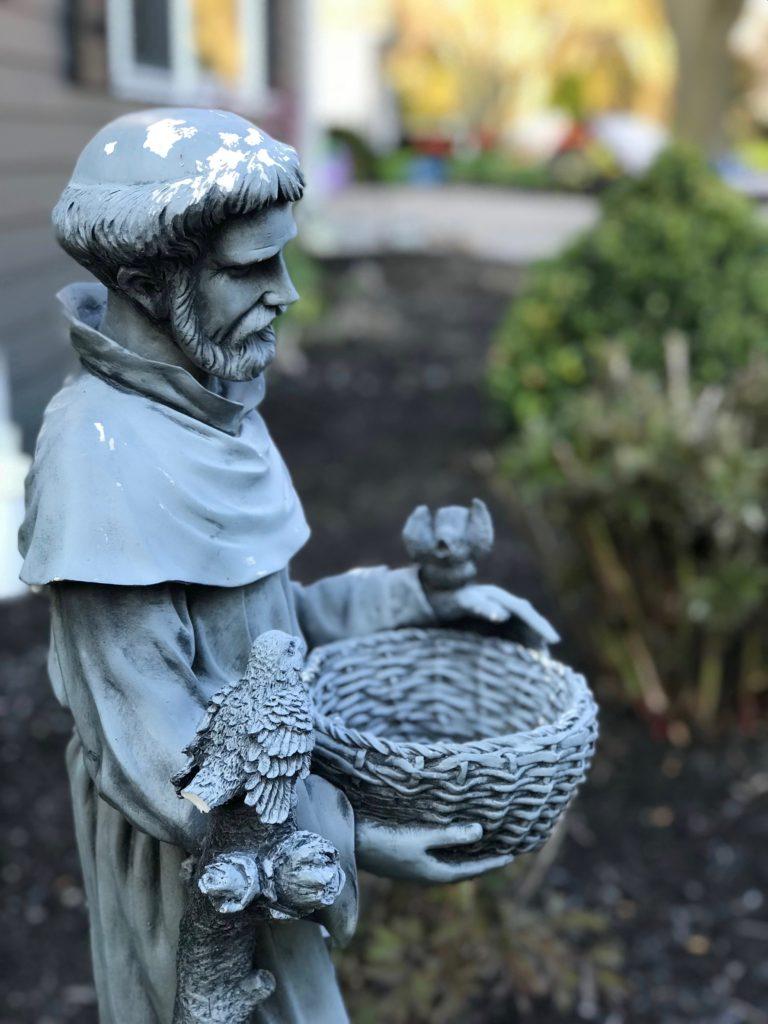 saint Francis outdoor garden sculpture, bird feeders