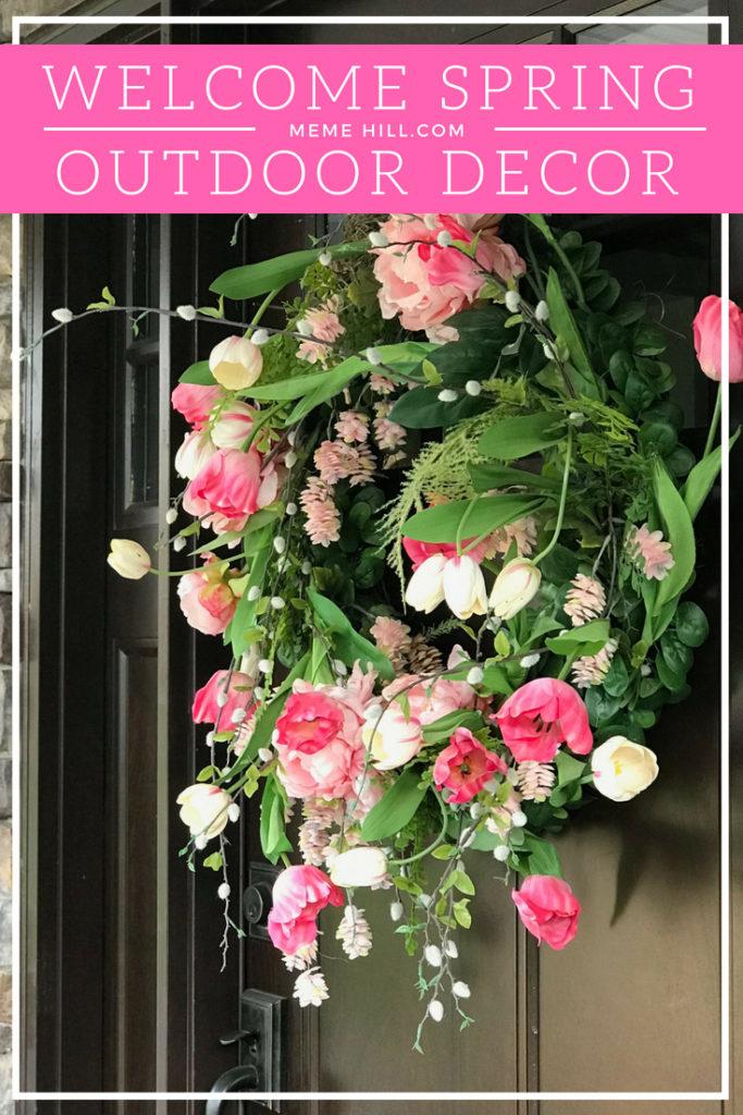 Welcome spring front door decor wreath tulip 2