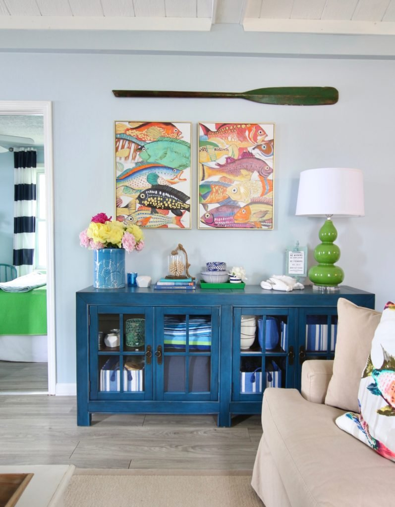 Meme_HIll_Studio_Amie_Freling_Summer_Lake_House_Blogger_Home_Tour_Cottage_Living_Coastal_decor_Aquitaine_accent_cabinet_Raymour_flanigan_fish_art_colorful