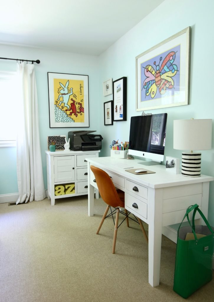 artist home office, office decorating ideas, ombre painted walls, white office furniture