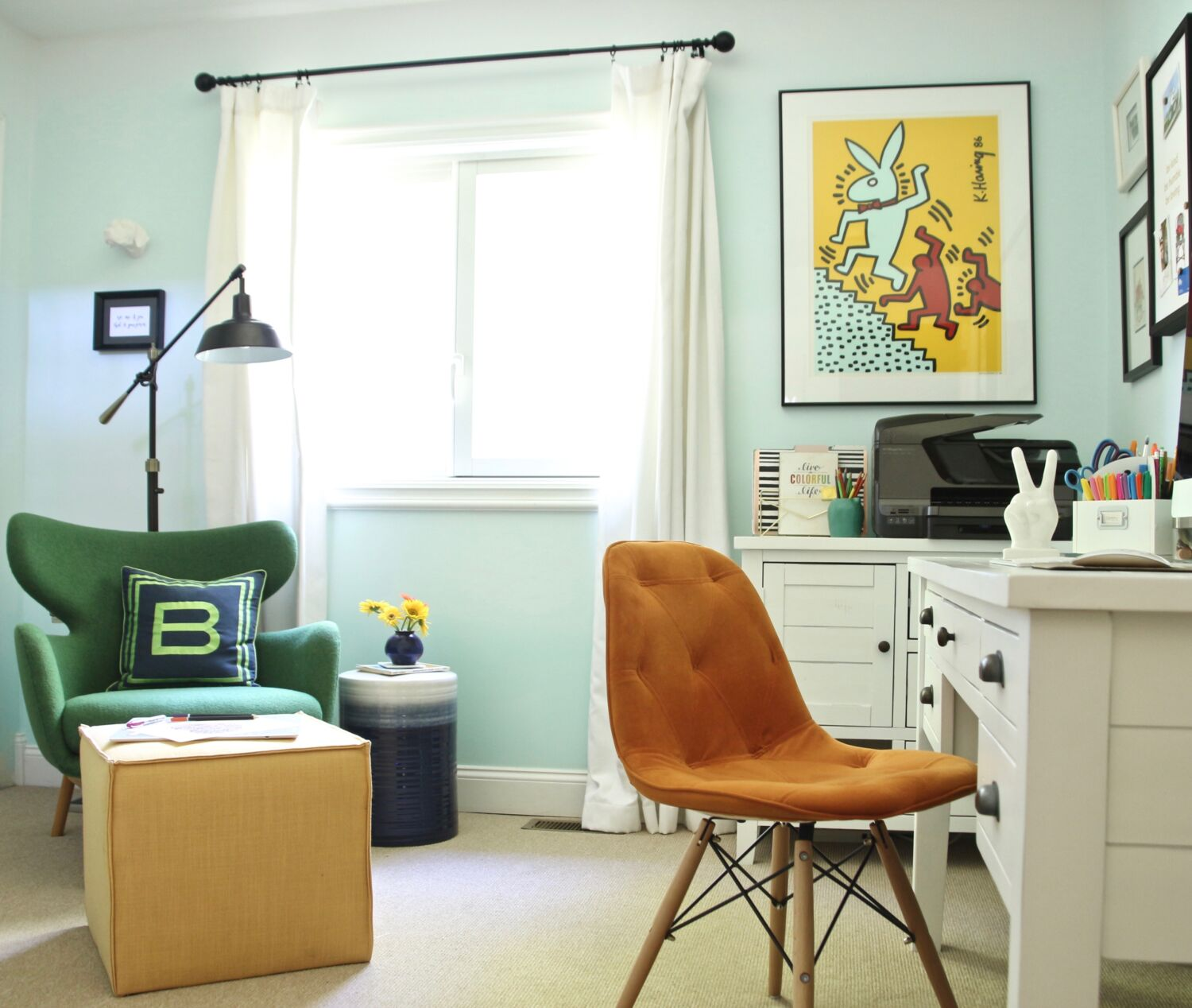 A Boring Home Office Gets A Practical, Bright U0026 Colorful Makeover With  Raymour U0026 Flanigan