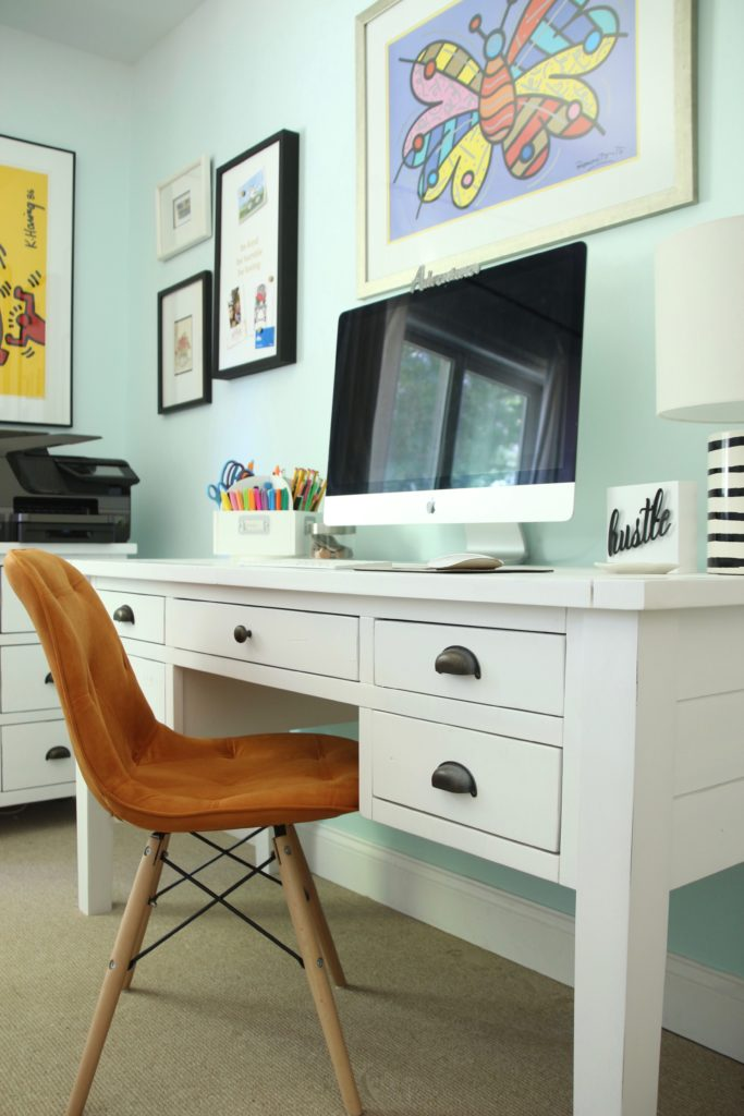 white rustic farmhouse desk, distressed white desk with drawers, desks with storage, pretty white desks, orange leather chairs
