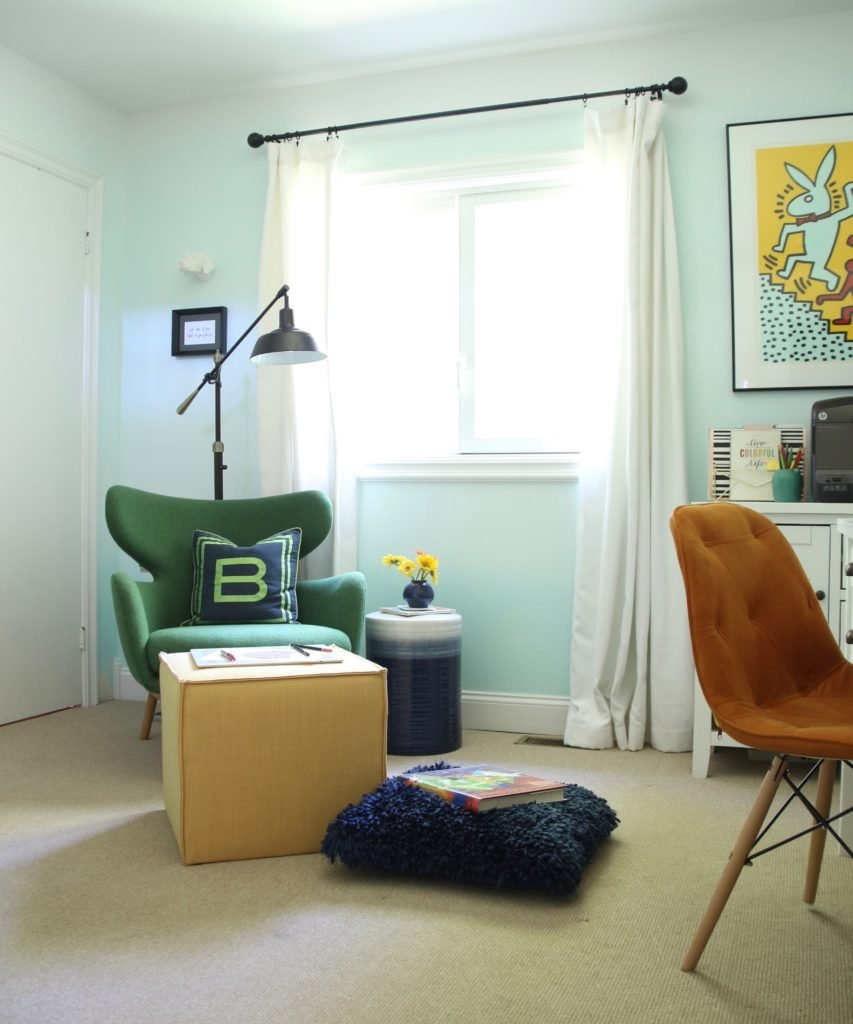 artist home office, office decorating ideas, ombre painted walls, white office furniture, green mid century modern chairs, Raymour and Flanigan