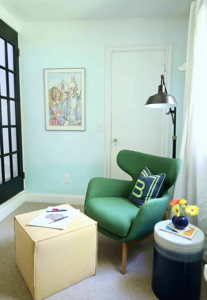 artist home office, office decorating ideas, ombre painted walls, white office furniture, green mid century modern chairs, Raymour and Flanigan , yellow ottomans, cube ottomans