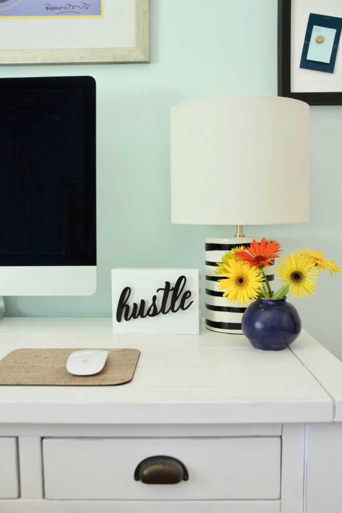white rustic farmhouse desk, distressed white desk with drawers, desks with storage, pretty white desks, kate spade lamps, desk ideas