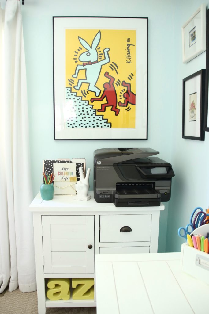 Keith Haring art, colorful home offices., getting organized,