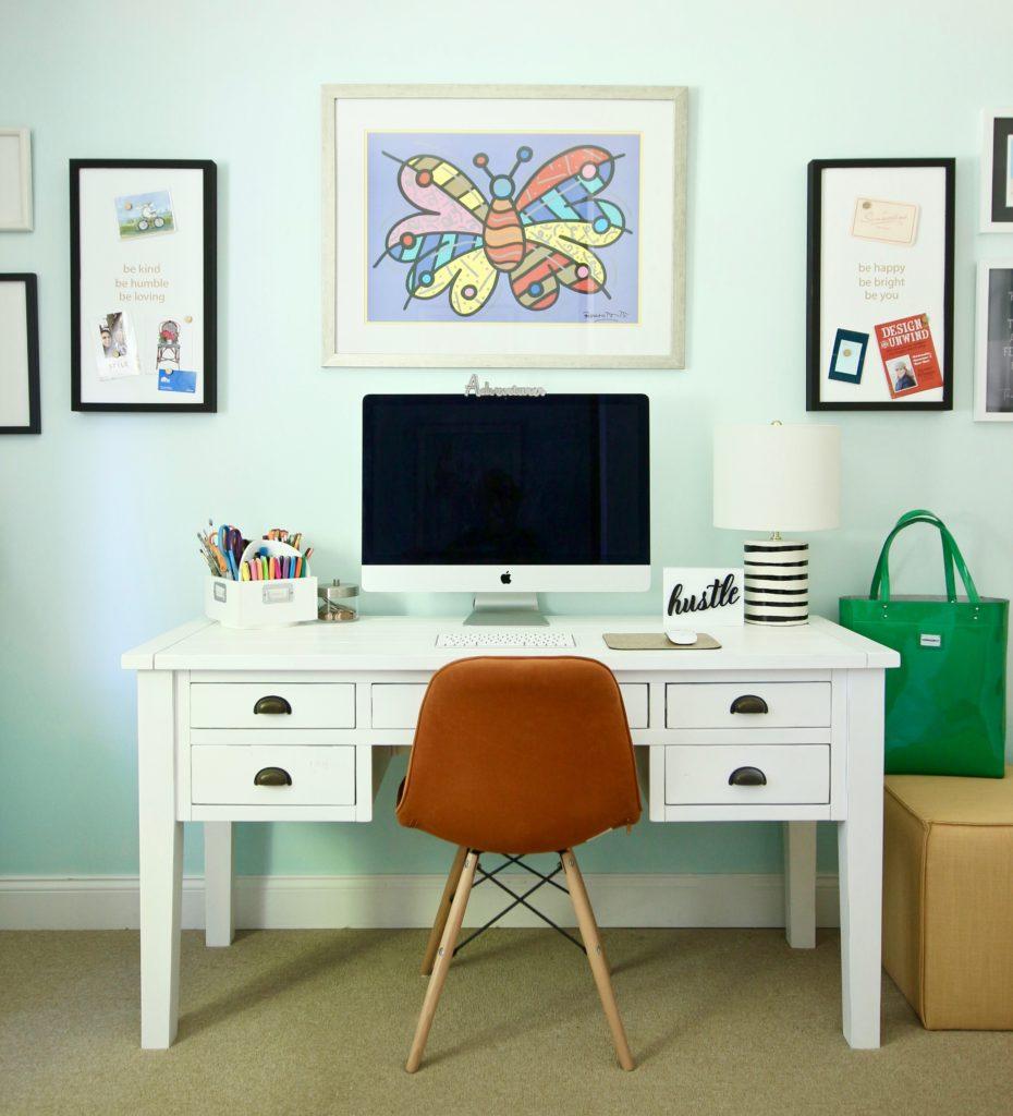 white rustic farmhouse desk, distressed white desk with drawers, desks with storage, pretty white desks
