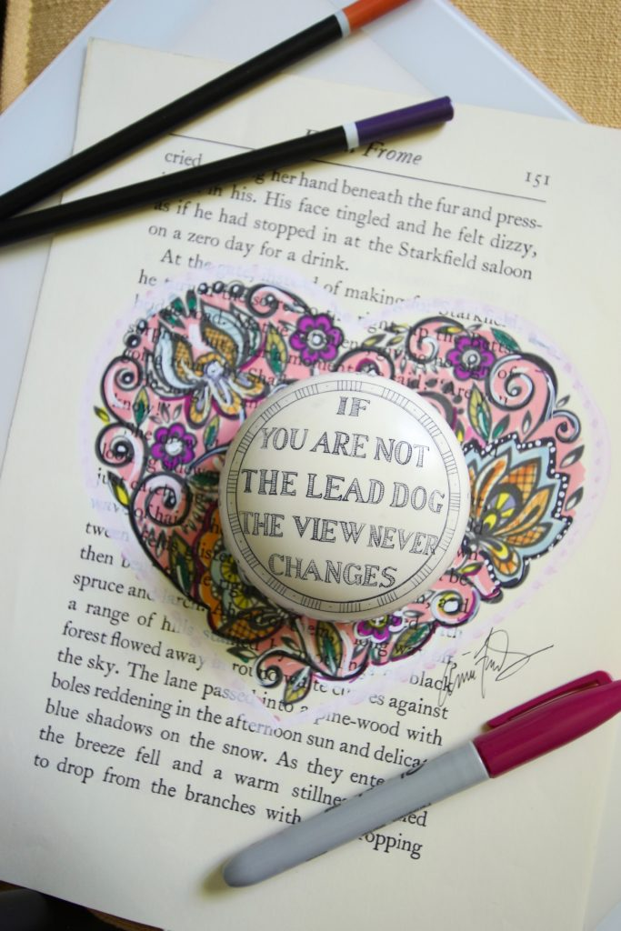inspirational quotes, paperweights, heart artwork, using books to decorate
