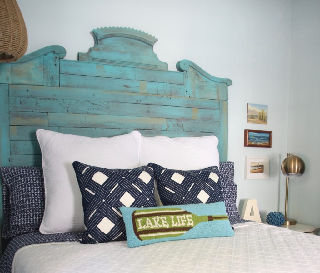 reclaimed wood headboard ideas and the perfect nautical decor with lake life pillows and navy blue anchor sheets