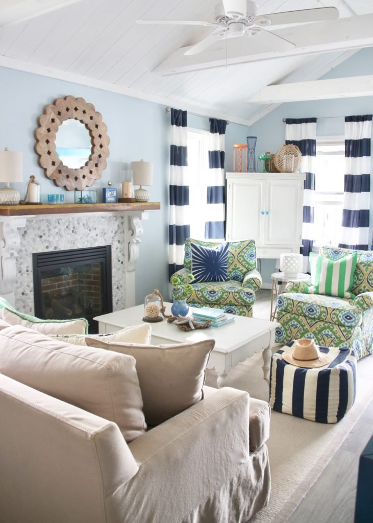 lake house decorating ideas, cottage remodels and open spaces using fresh colorful nautical decor and furniture
