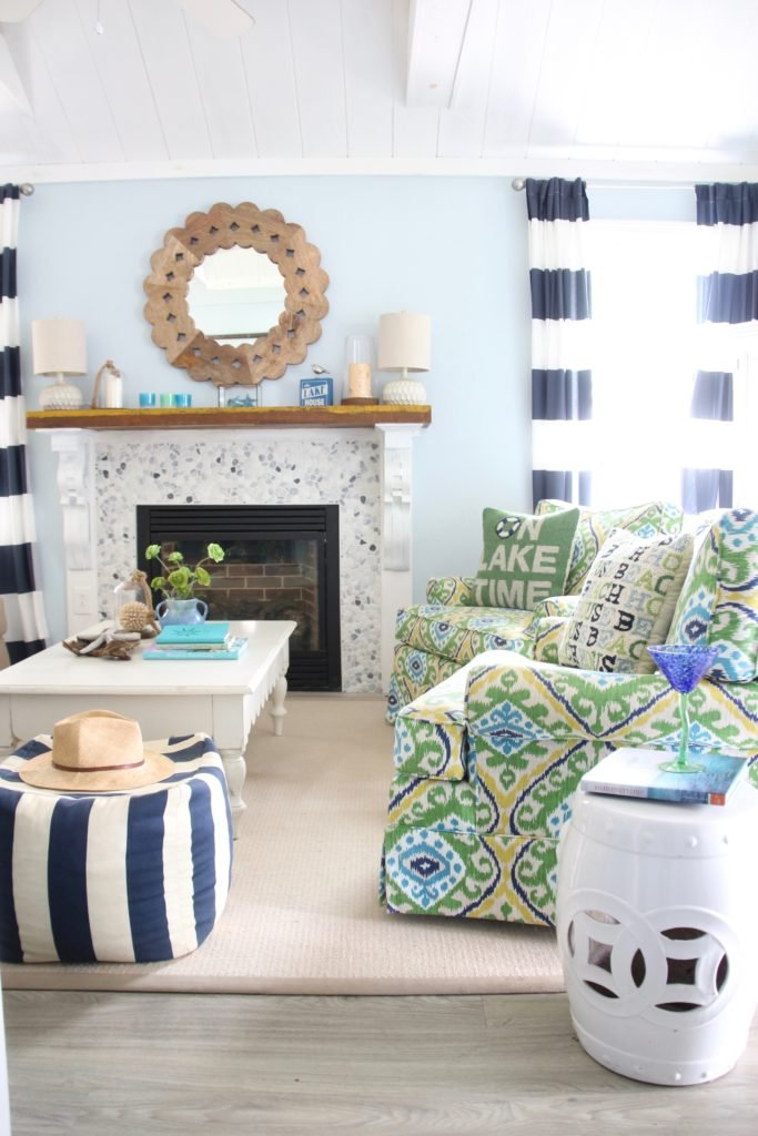 fun colorful furniture fabrics. cottage living , lake house decorating ideas, garden stools white