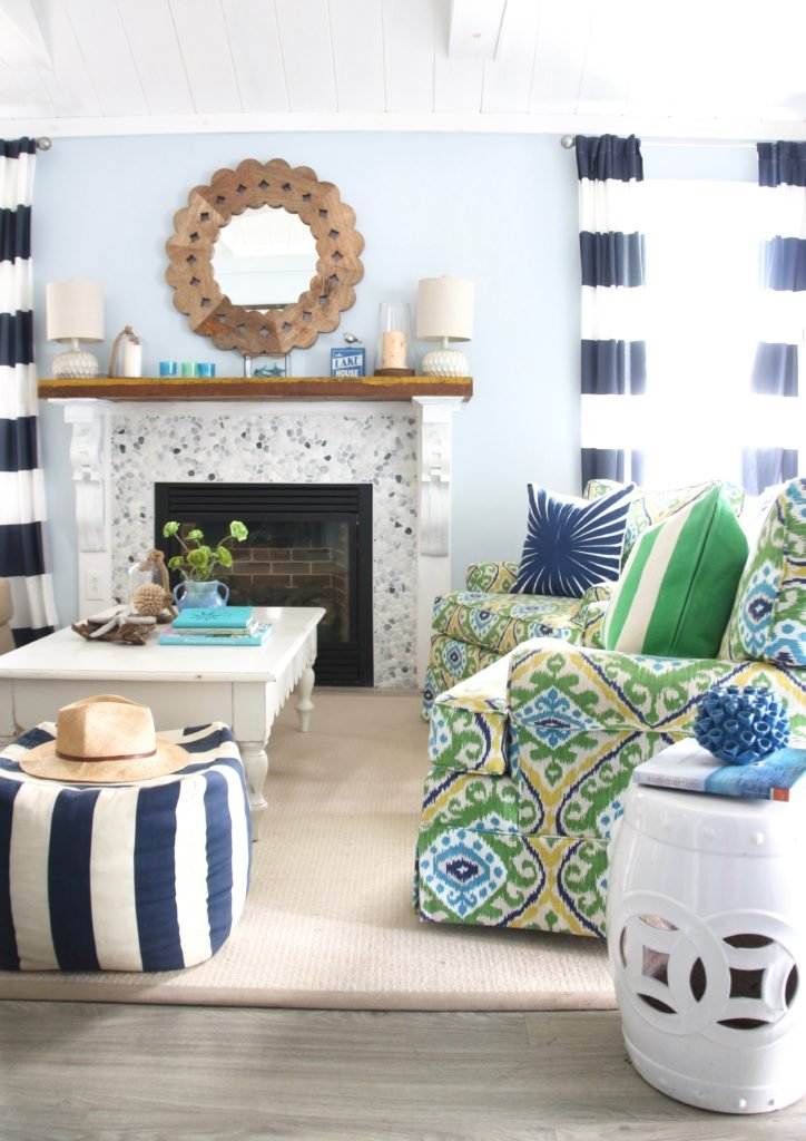 fun colorful furniture fabrics. cottage living , lake house decorating ideas